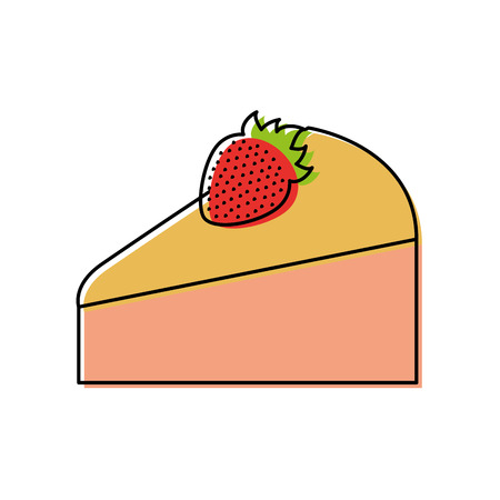birthdat piece cake strawberry fruit sweet tasty vector illustration Ilustração
