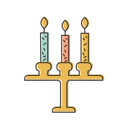 생일 샹들리에 촛불 장식 장식 디자인 벡터 일러스트 레이 션