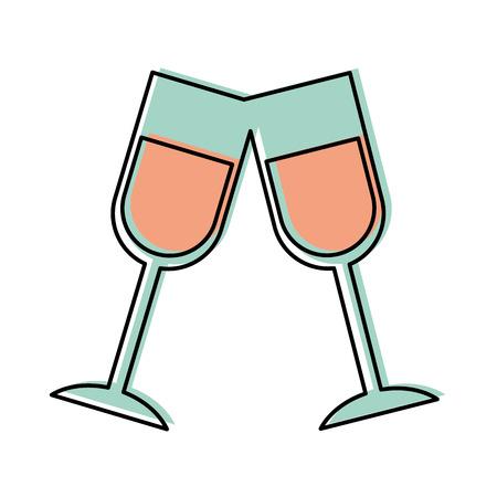 Champagne toast tazze compleanno festa celebrazione illustrazione vettoriale Archivio Fotografico - 88544759