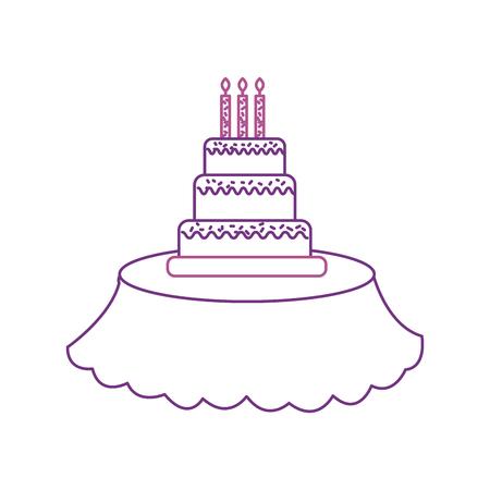 テーブルの上の誕生日のケーキキャンドルイベントサービスベクターイラスト  イラスト・ベクター素材