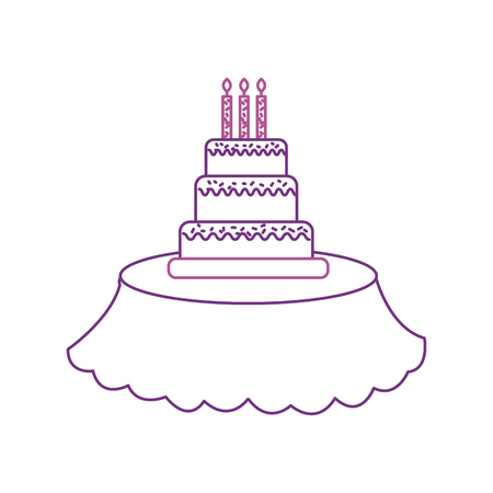 birthday cake candles on the table event service vector illustration Illusztráció