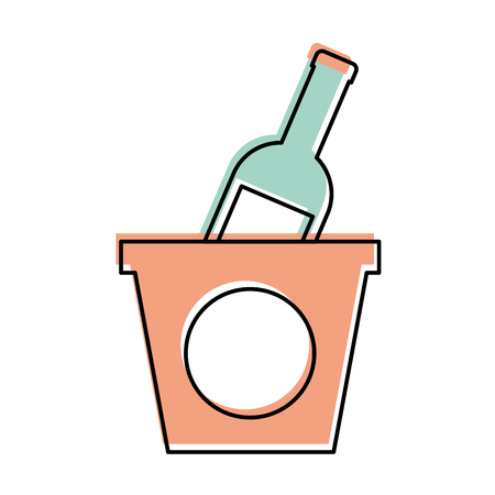champagne bottle in ice bucket beverage party vector illustration Иллюстрация