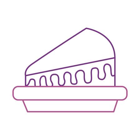 piece of cake on plate dessert sweet cream birthday food vector illustration Ilustração