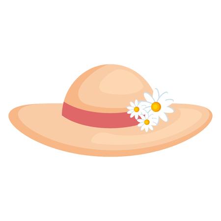 Sommer weibliche Hut mit Blumen Vektor-Illustration Design