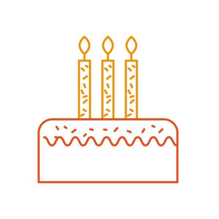 3 つのキャンドルのお祝いイベント ベクトル図で誕生日ケーキ