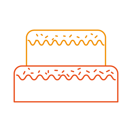 sweet cake for birthday party decorated vector illustration