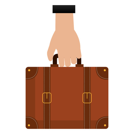 hand with suitcase travel vector illustration design