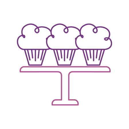 three birthday cupcakes arranged on a serving tray vector illustration Stock Vector - 88544875