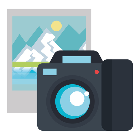 camera photographic with landscape picture vector illustration design 向量圖像