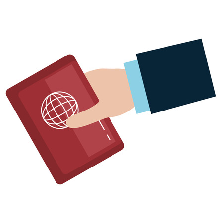 hand human with passport document vector illustration design Illusztráció