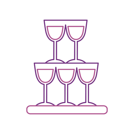 champagne glasses pyramid drink event celebration vector illustration Ilustracja