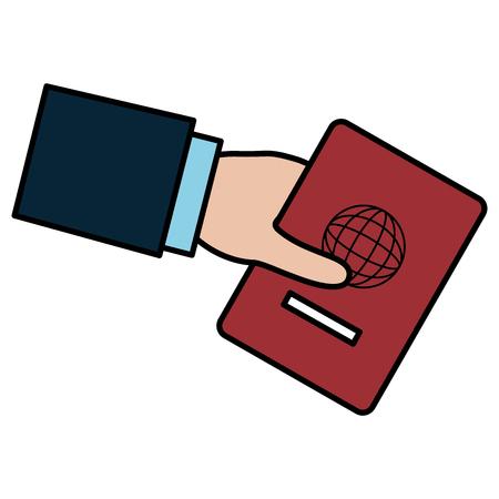 hand human with passport document vector illustration design Illustration