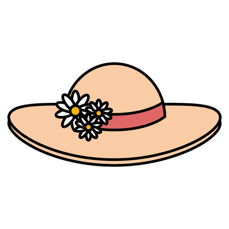 summer female hat with flowers vector illustration design Stock Vector - 88550364