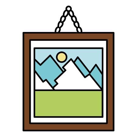 Peinture de paysage dans un cadre simple Banque d'images - 88617209