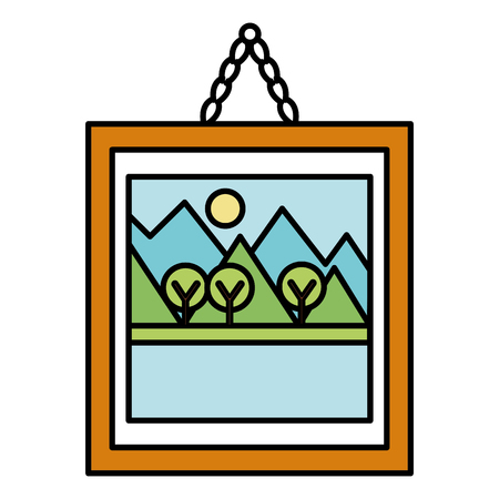 Landscape painting icon on simple frame vector illustration design