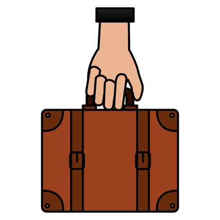 Main avec valise voyage illustration vectorielle conception Banque d'images - 88546061