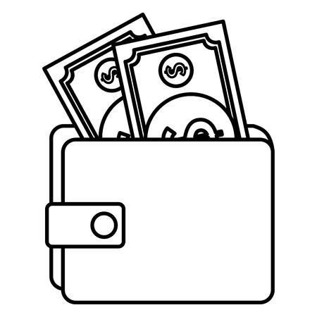 紙幣ベクトルイラストデザインの財布マネー