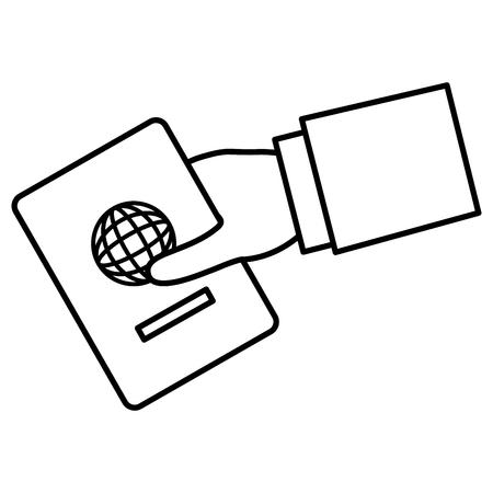 Mão humana com design de ilustração de vetor de documento de passaporte Foto de archivo - 88546989