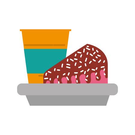 Slice of cake and soda icon.