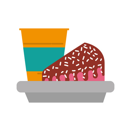 Slice of cake and soda icon.