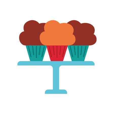 サービング トレイのベクトル図に配置された 3 つの誕生日カップケーキ 写真素材 - 88547365
