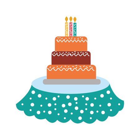 Birthday cake with candles icon. Ilustrace
