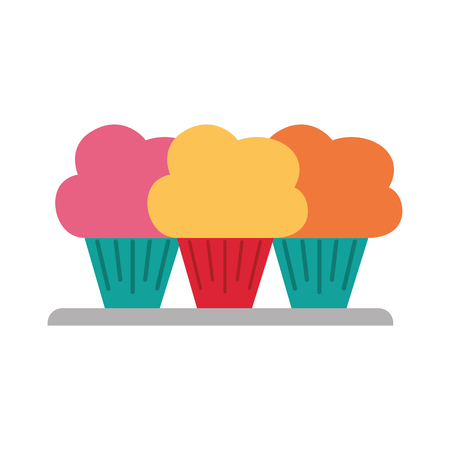 Three cupcakes icon. Illustration