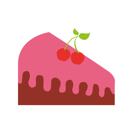 birthdat piece cake berries sweet tasty food vector illustration