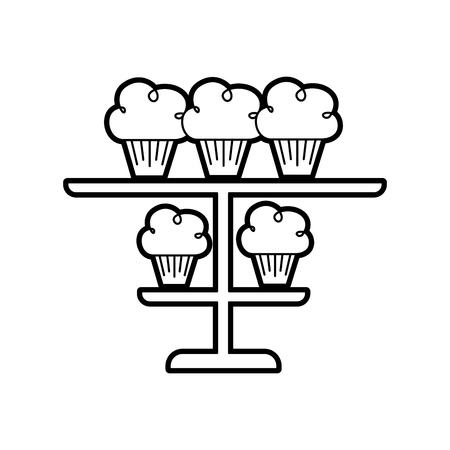 birhtday 컵 케이크 촛불을 계층화 된 플래터 장식 벡터 일러스트 레이 션에 일러스트