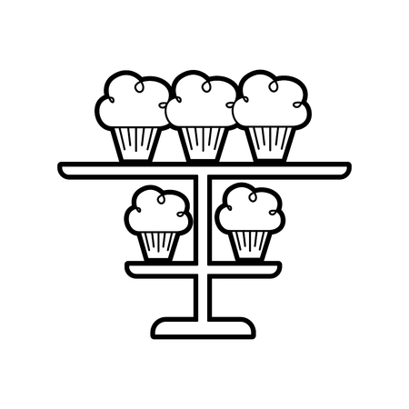 birhtday cupcakes candles on tiered platter decoration vector illustration Çizim