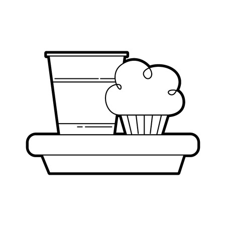 birthday cupcake and soda drink food party vector illustration