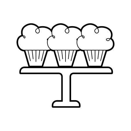 サービング トレイのベクトル図に配置された 3 つの誕生日カップケーキ  イラスト・ベクター素材