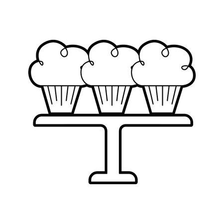 three birthday cupcakes arranged on a serving tray vector illustration 向量圖像