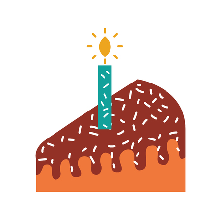 piece of cake with one candle celebrating the birthday vector illustration Imagens - 88549807