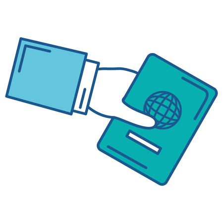 Hand human with passport document vector illustration design