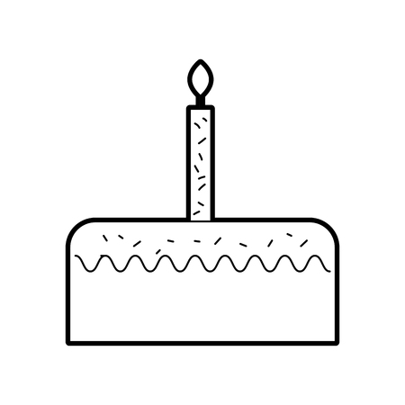 birthday cake with one candle celebration anniversary vector illustration