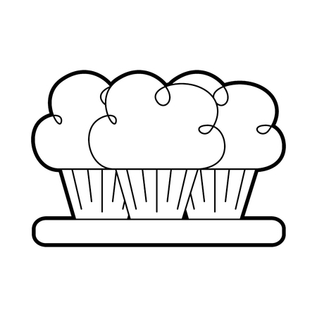 birthday three cupcake on the plate serving party dessert vector illustration Imagens - 88548802