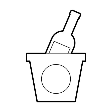 champagne bottle in ice bucket beverage party vector illustration Çizim