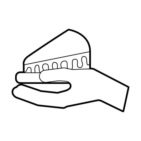 hand holding birthday cake slice food vector illustration
