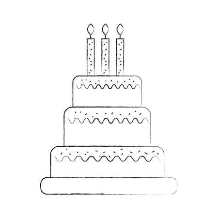 誕生日のケーキのキャンドルを燃焼甘いおいしいベクトル図 写真素材 - 88550532