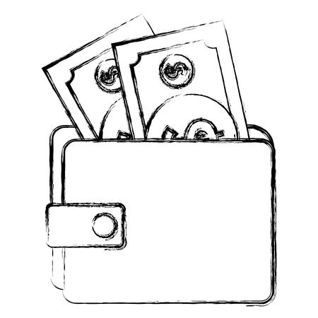 Wallet money with bills vector illustration design Ilustração