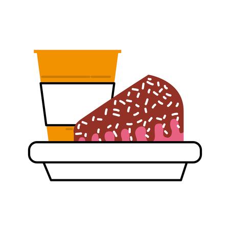 Birthday cake and soda snack food dish vector illustration Çizim