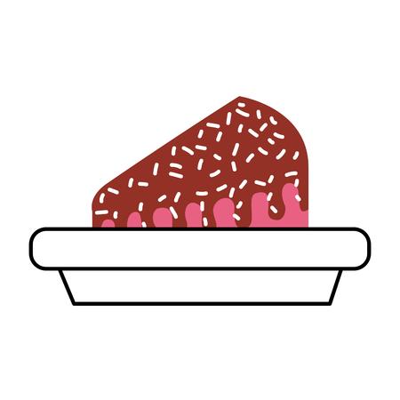Piece of cake on plate dessert sweet cream birthday food vector illustration