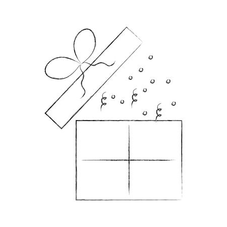 Birthday open gift box confetti decoration vector illustration
