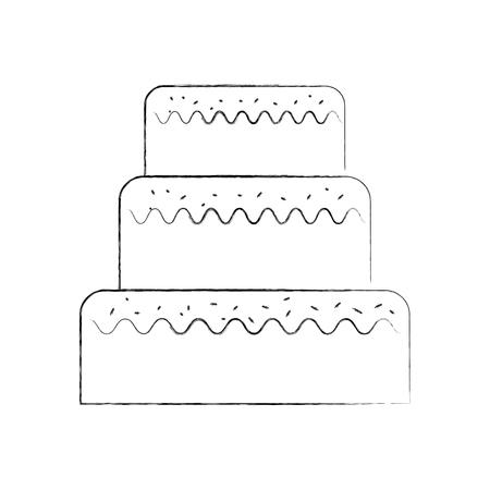 생일 케이크 장식 된 벡터 일러스트 레이 션에 대 한 달콤한 케이크