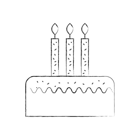 birthday cake with three candles celebration event vector illustration Stock fotó - 88549899