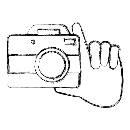 Hand with camera photographic vector sketch design Stok Fotoğraf - 88621114