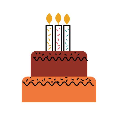 달콤한 맛있는 벡터 일러스트를 태우고 촛불 생일 케이크 일러스트