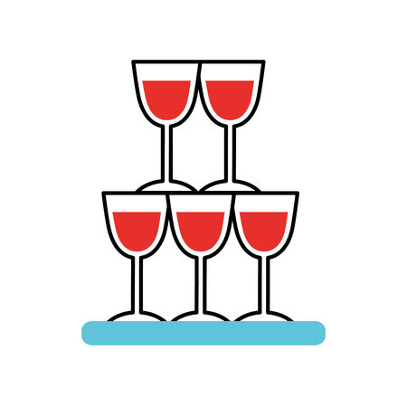 Champagne glasses pyramid drink event celebration vector illustration