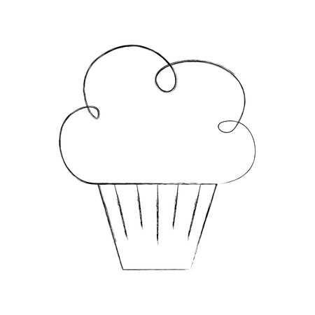 birthday sweet cupcake dessert food delicious vector illustration